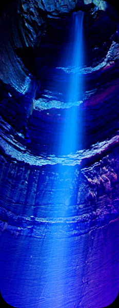 ruby falls during the light show in Chattanooga, TN